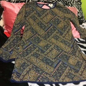 Blue and Yellow Patterned Dress